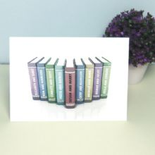 Personalised Book Artwork Card – Displays Famous Literary Couples and Your Names in the Central Book